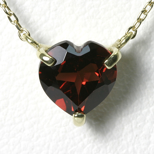 1ctのガーネット ハートネックレス K10YG【送料無料】 1月の誕生石 赤 一粒 ネックレス ハートシェイプ heart necklace garnet