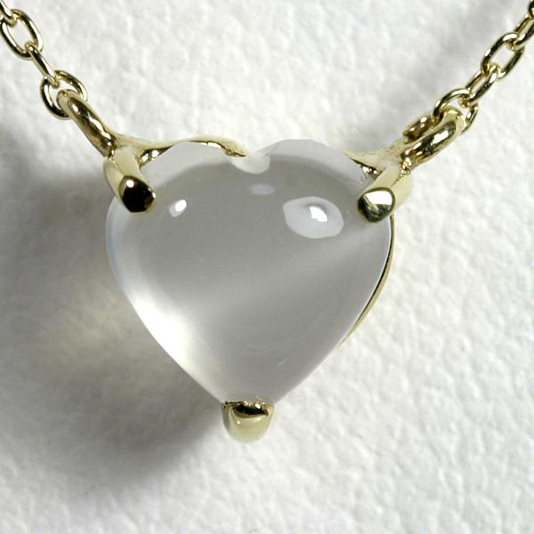 ムーンストーン 1ct ハートネックレス K10YG【送料無料】ホワイトゴールド 6月誕生石 一粒 ネックレス 【heart pendant necklace】