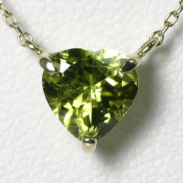 ペリドット 1ct ハートネックレス K10YG【送料無料】【heart necklace peridot pendant】【一粒ペンダント】8月 誕生石 ペリドット 【別名 イブニング・エメラルド】
