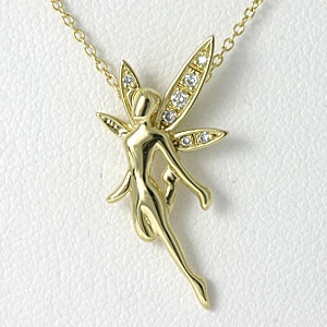 フェアリー ダイヤネックレス K18ゴールド【送料無料】diamond fairy necklace妖精 天使