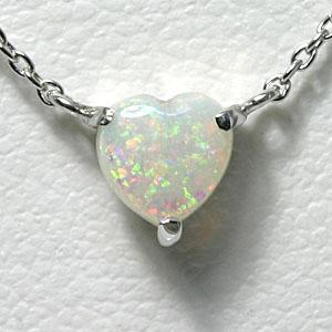 オパール ハート ネックレス K10WG【送料無料】ホワイトゴールド 10月誕生石 一粒 ネックレス 【opal heart necklace】