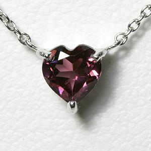 ガーネット ハートネックレス K10WG【送料無料】【heart necklace garnet pendant】 1月誕生石 赤 ホワイトゴールド 一粒ネックレス スキンジュエリー
