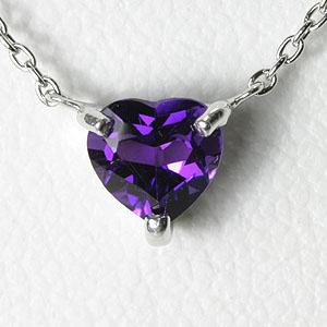 アメジスト ハート ネックレス K10WG【送料無料】【amethyst pendant heart necklace】 アメシスト 2月誕生石 一粒 ネックレス スキンジュエリー
