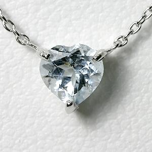 アクアマリン ハート ネックレス K10WG 【送料無料】 ホワイトゴールド 3月誕生石 一粒 ネックレス【heart necklace aquamarine pendant】 スキンジュエリー