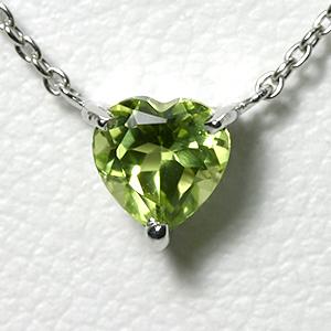 ペリドット ハート ネックレス K10WG【送料無料】【heart necklace peridot pendant】 一粒 ネックレス 8月誕生石 ホワイトゴールド