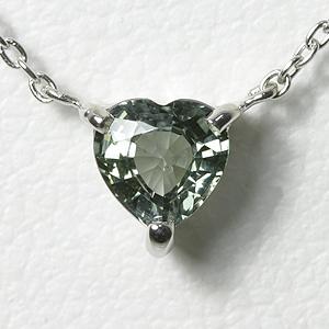 グリーンサファイア ハートシェイプ ネックレスK10WG【送料無料】 サファイヤ 9月 誕生石 一粒ネックレス sapphire heart necklace スキンジュエリー