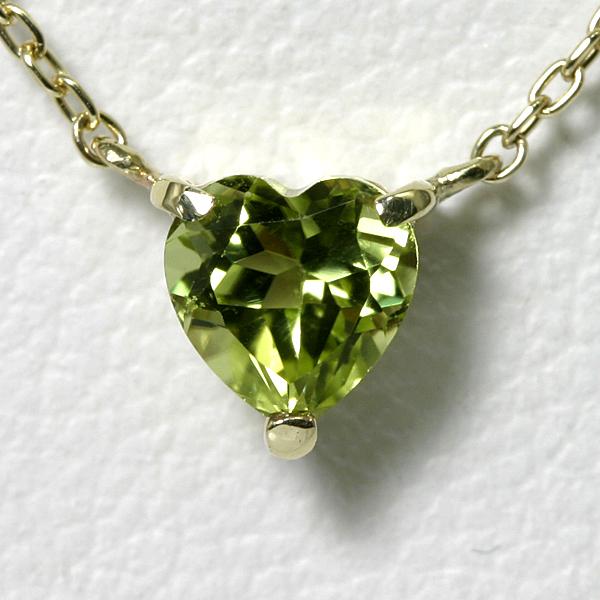 ペリドット ハート ネックレス K10YG【送料無料】【heart necklace peridot pendant】 一粒 ネックレス 8月誕生石 イエローゴールド