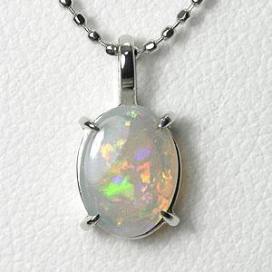 オパール ネックレス 0.52ct K18WG【送料無料】一粒ペンダントネックレス ホワイトゴールド opal necklace 10月誕生石