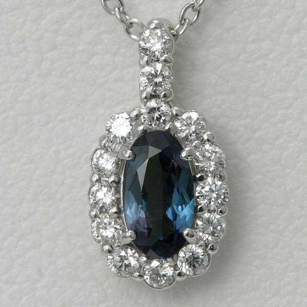 アレキサンドライト & ダイヤ ネックレス 0.361ct K18WG 宝石鑑別書付【送料無料】alexandrite necklace アレクサンドライト