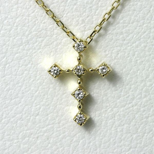 ダイヤ クロス ネックレス k18 【送料無料】イエローゴールド プチクロスネックレス 十字架 18K 金