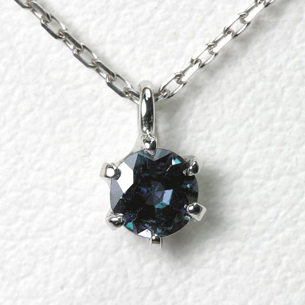 アレキサンドライト ネックレス 0.2ct 鑑別書付 18WG【送料無料】18k alexandrite necklace レディース