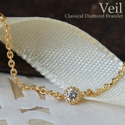 K18 ブレスレット レディース ダイヤモンド 0.03ct 18金 18k ブレスレット ヴェール 華奢 重ねづけ シンプル おしゃれ アズキチェーン ミル打ち 1粒ダイヤ イエロー ピンク ホワイトゴールド