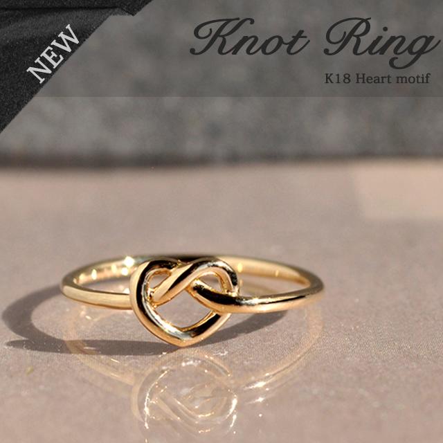 K18 18金 18k リング 指輪 レディース ゴールド ハート ノット おしゃれ シンプル 華奢 人気 細身 トレンド シンプル 結 イエローゴールド ピンクゴールド