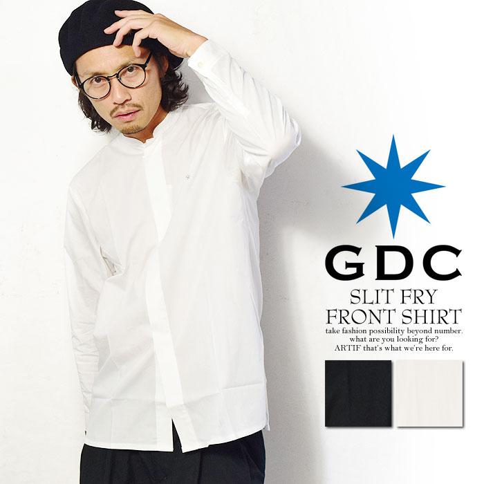 ジーディーシー GDC SLIT FRY FRONT SHIRT メンズ シャツ 長袖 長袖シャツ スタンドカラー  ストリート ホワイト 白  gdc 送料無料【ストリート系 ファッション】