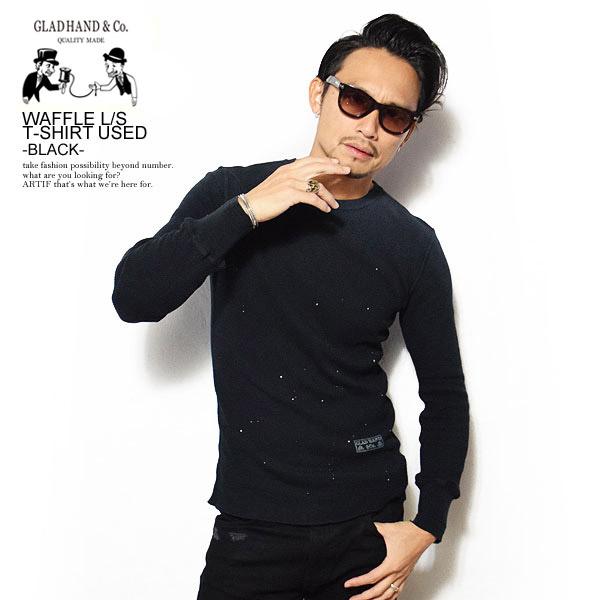 グラッドハンド 長袖Tシャツ GLAD HAND WAFFLE L/S T-SHIRT USED -BLACK- ストリート系 ファッション