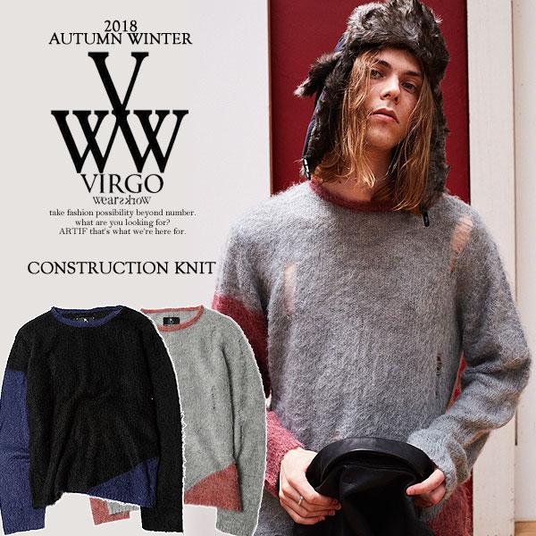先行予約 ヴァルゴ ニット VIRGO CONSTRUCTION KNIT 10月~11月入荷予定【ストリート系 ファッション】