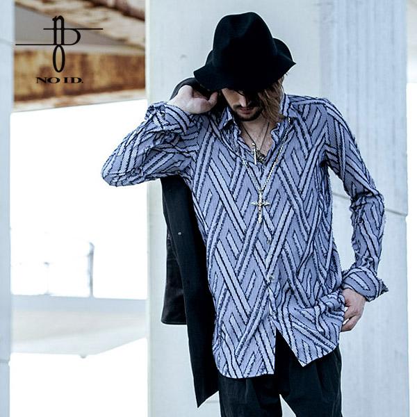 30%OFF SALE セール ノーアイディー シャツ NO ID. BLACK フリンジJQストライプロングシャツ ストリート系 ファッション