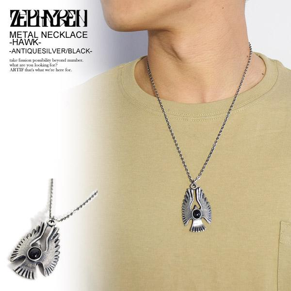 ゼファレン ネックレス ZEPHYREN METAL NECKLACE -HAWK- ANTIQUESILVER/BLACK ストリート系 ファッション
