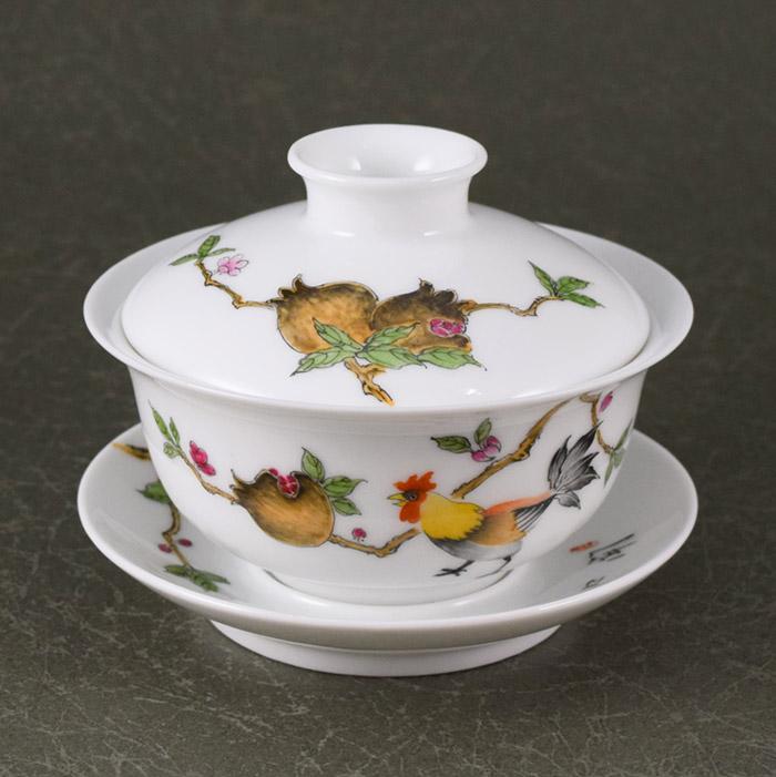 【逸品茶器】魔を払う鶏景徳鎮窯 鶏石榴広口蓋碗蓋碗 茶器 中国 茶器 景徳鎮窯