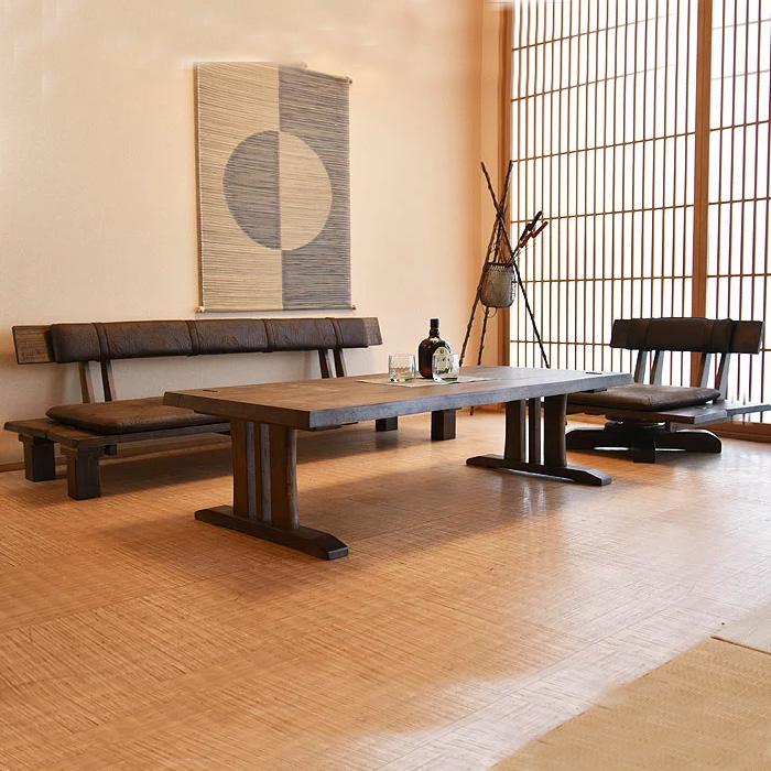 リビングセット 木製 無垢 3点セット ソファー 3人掛け 1人掛け リビングテーブル 和風 センターテーブル 座卓 応接セット 高級 3Pソファー 1Pソファー ソファー完成品 アンティーク加工