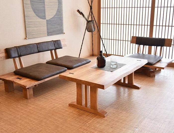 【送料無料】リビングセット 木製 無垢 3点セット ソファー 2人掛け 1人掛け リビングテーブル 和風 センターテーブル 座卓 応接セット 高級 2Pソファー 1Pソファー ソファー完成品 アンティーク加工