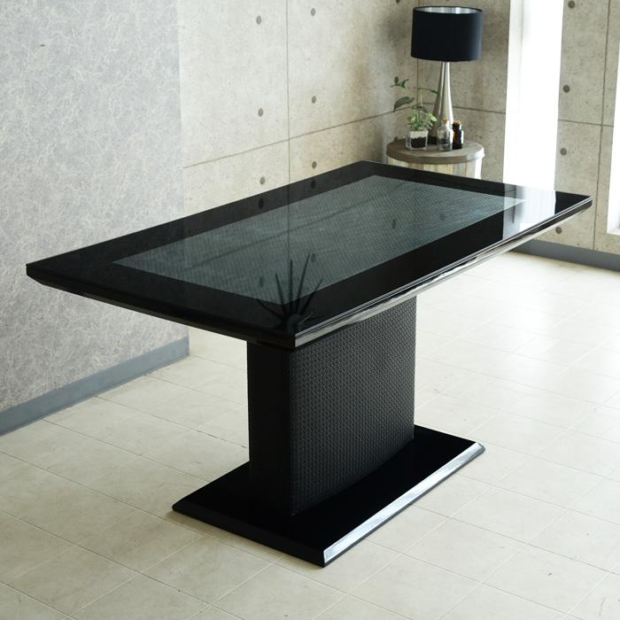ダイニングテーブル 幅140 4人用 食卓テーブル 編み込み風レザー ガラス天板 おしゃれ デザイナー モダン アイアン