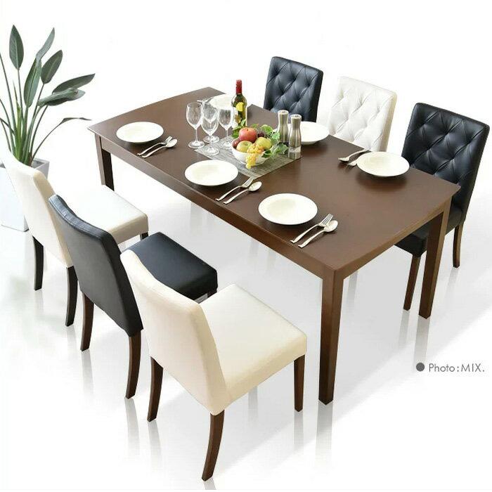 【クーポン配布中】ダイニングテーブルセット ダイニングテーブル7点セット 幅165cm 食卓7点セット 6人用 6人掛け 食卓セット モダン ブラック ホワイト ダイニング シンプル テーブル