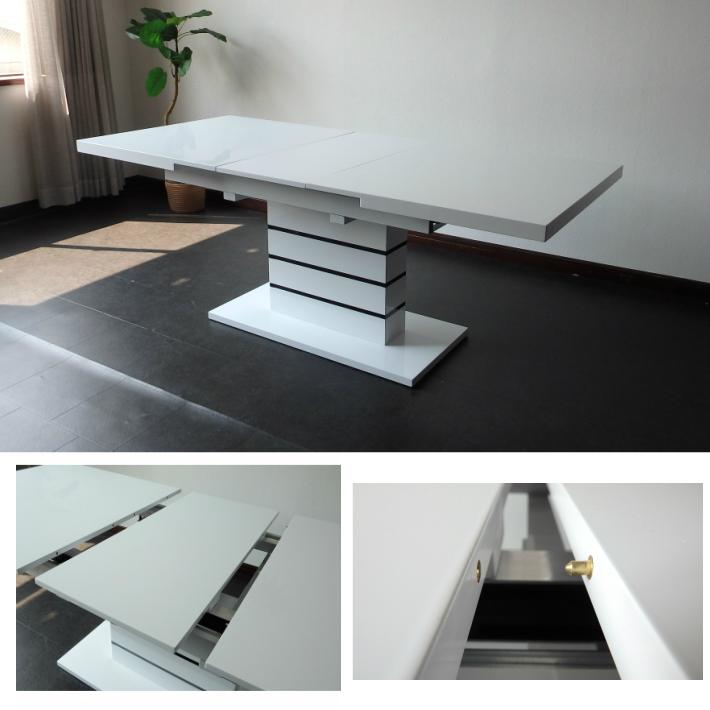 【クーポンSALE開催中】ダイニングテーブル 伸長式ダイニングテーブル 160cm幅 200cm幅 モダン エクステンションテーブル ナポリ 鏡面仕上げ ホワイト
