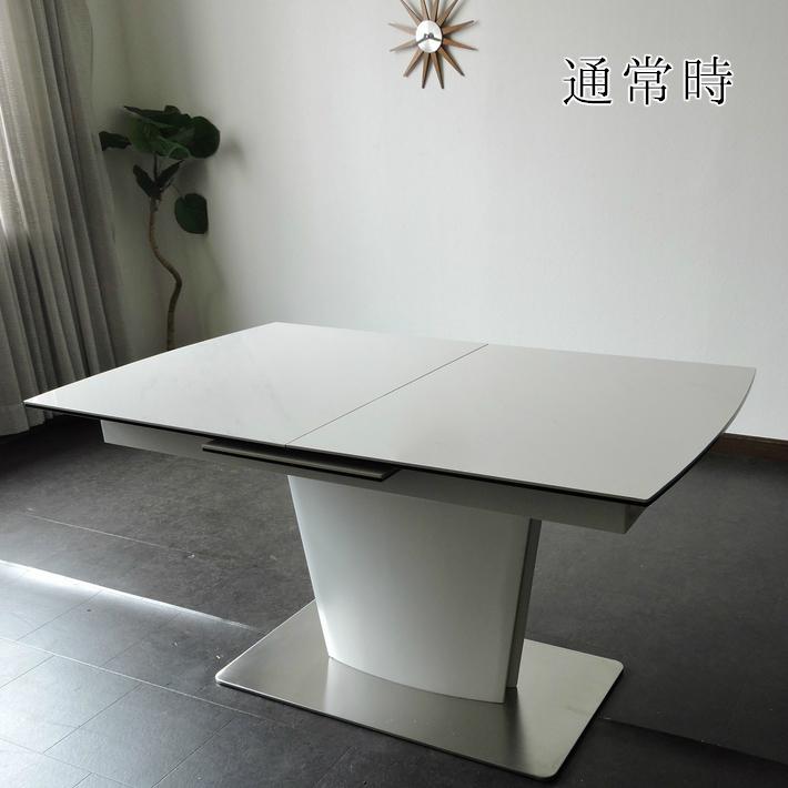 ダイニングテーブル セラミック セラミックテーブル 伸張式ダイニングテーブル 大理石風 140cm幅 180cm幅 伸長式 エクステンション 白天板 4人掛け モダン 食卓 鏡面 強化ガラス