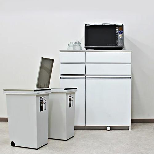 キッチンカウンター 幅87cm ダストボックス 30リットル カウンター下収納 完成品 木製日 日本製 レンジ台 キッチン収納 2分別 ゴミ箱付き