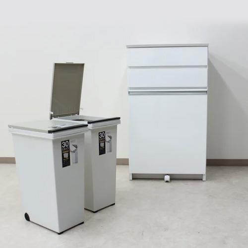 【送料無料】キッチンカウンター 幅56cm ダストボックス 30リットル カウンター下収納 完成品 木製日 日本製 レンジ台 キッチン収納 2分別 ゴミ箱付き
