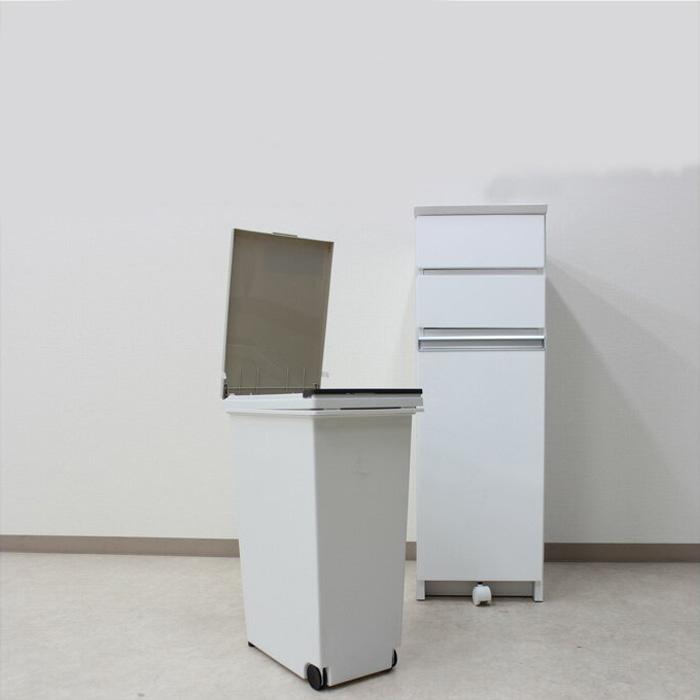 【送料無料】キッチンカウンター 幅32cm ダストボックス 30リットル カウンター下収納 完成品 木製日 日本製 レンジ台 キッチン収納 2分別 ゴミ箱付き