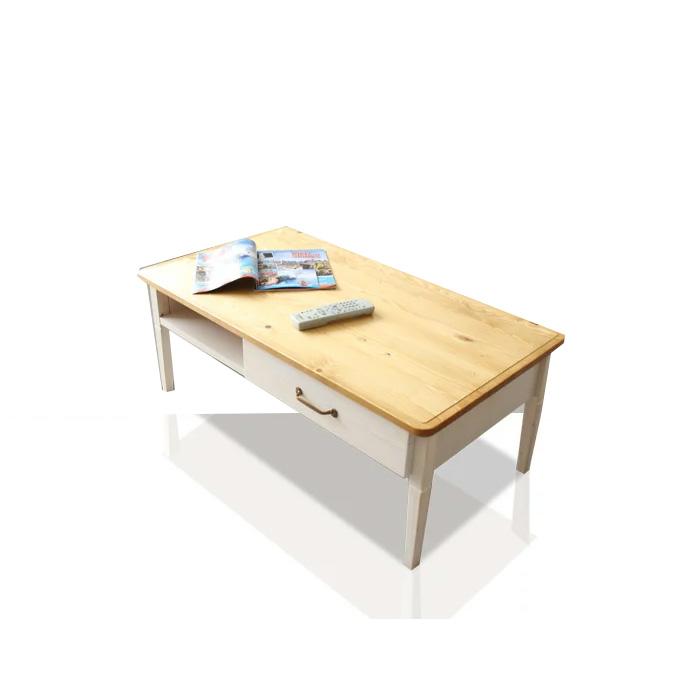 テーブル リビングテーブル 幅100cm カントリー 木製 エコ家具 センターテーブル ローテーブル 収納付 引き出し付き ホワイトウォッシュ パイン リビング収納 脚付き オシャレ 北欧カントリー