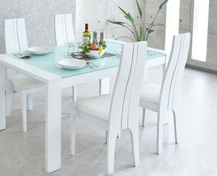 ダイニングテーブルセット ダイニングセット 伸長式 ダイニング 食卓テーブル セット【ホワイト】 幅150cm~210cm ダイニング5点セット ダイニングチェア 食卓セット シンプル 4人掛け 4人用 テーブル いす イス 椅子 4脚 木製 無垢 強化ガラス 北欧