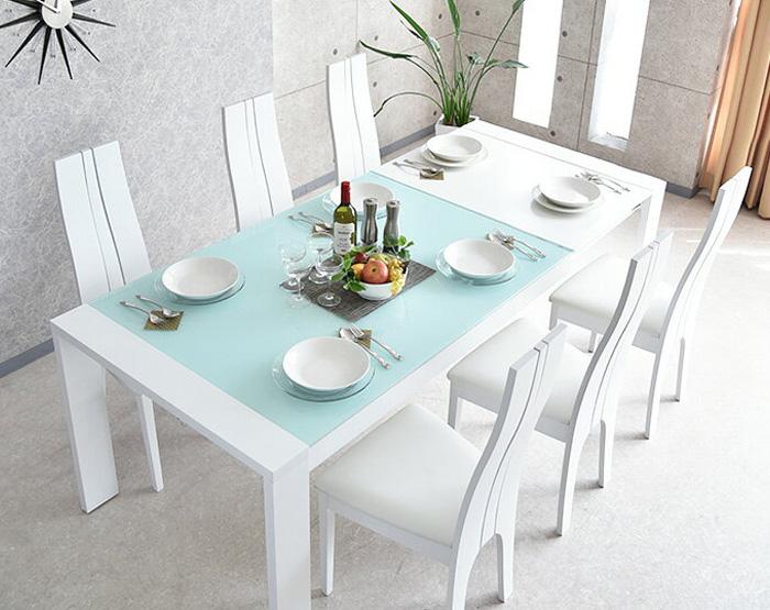 ダイニングテーブルセット ダイニングセット 伸縮 伸長 式 ダイニング 食卓テーブル セット【ホワイト】 幅150cm~210cm ダイニング7点セット ダイニングチェア 食卓セット シンプル 6人掛け 6人用 テーブル いす イス 椅子 6脚 木製 無垢 強化ガラス 北欧