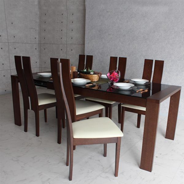 【送料無料】ダイニングテーブルセット ダイニングセット 伸縮式 ダイニング 食卓テーブル セット エクステンションテーブル 幅150cm~210cm ダイニング7点セット ダイニングチェア 食卓セット シンプル 6人掛け 6人用 テーブル いす イス 椅子 6脚 木製 北欧