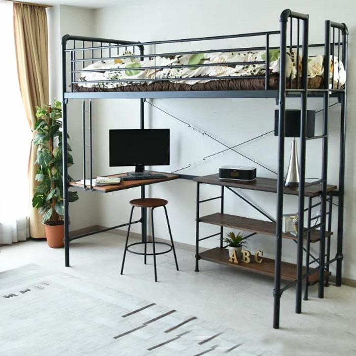 ベッド ロフトベッド パイプベッド シングルベッド システムベッド デスク付き ハシゴ モダン オシャレ 子供用 大人用