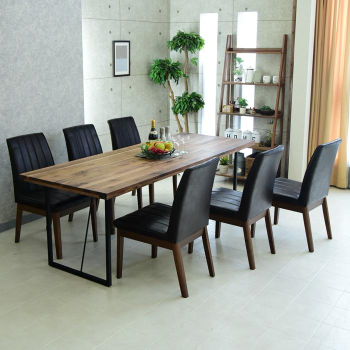 ダイニングテーブルセット 幅210cm 7点セット 6人掛け ダイニングテーブル7点セット 食卓 オイル塗装 アイアン脚 ダイニングテーブル チェアー ダイニングチェアー 椅子 テーブル