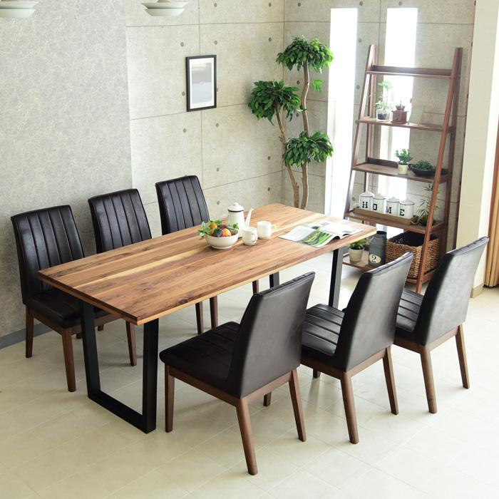 ダイニングテーブルセット 幅180cm 7点セット 6人掛け ダイニングテーブル7点セット 食卓 オイル塗装 アイアン脚 ダイニングテーブル チェアー ダイニングチェアー 椅子 テーブル