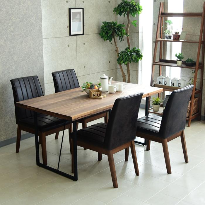 ダイニングテーブルセット 幅150cm 5点セット 4人掛け ダイニングテーブル5点セット 食卓 オイル塗装 アイアン脚 ダイニングテーブル チェアー ダイニングチェアー 椅子 テーブル
