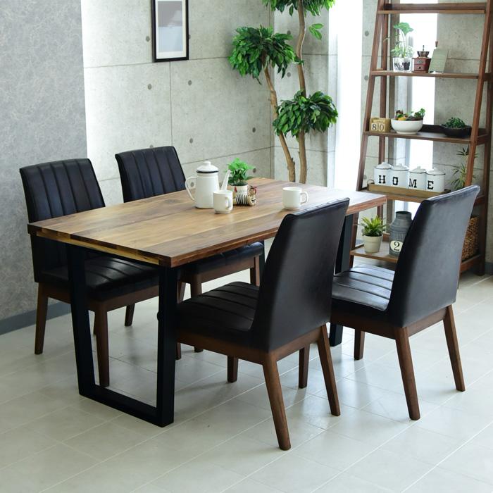 ダイニングテーブルセット 4人掛け 幅135cm 5点セット コンパクト無垢 ウォールナット オーク あしゃれ シンプル 食卓 オイル塗装 アイアン ダイニングテーブル ダイニングチェアー 椅子 テーブル