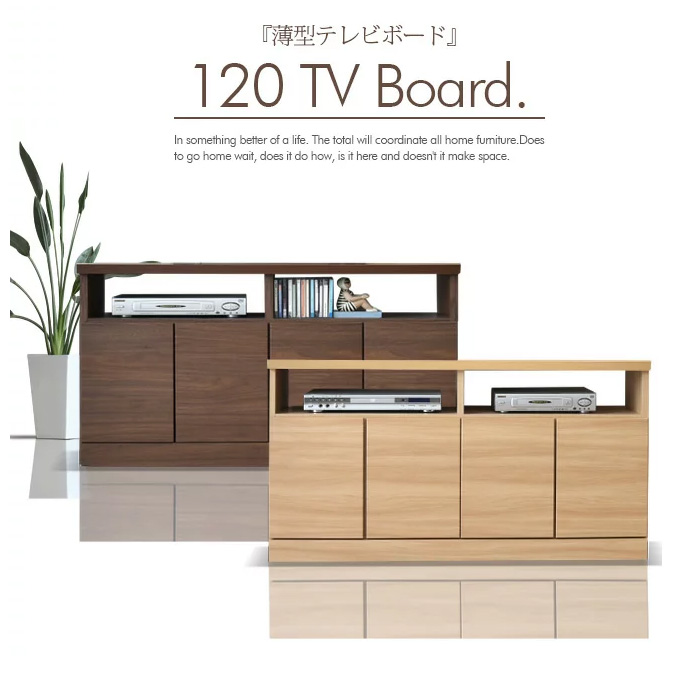 テレビ台 幅120 木製 テレビボード 完成品 薄型 寝室 国産品 リビングボード キャビネット ローボード スリム コンパクト 収納付 AVボード 大川家具