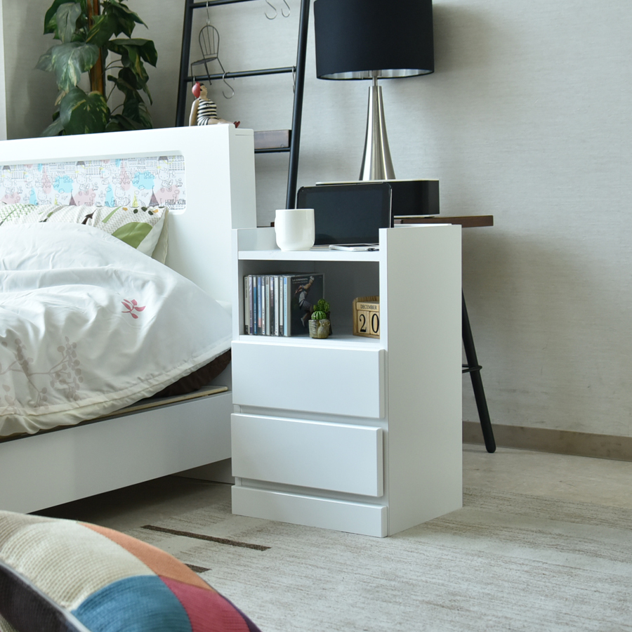 ナイトテーブル 消灯台 幅40cm 木製 完成品 日本製 大川家具 収納スペース付き コンセント付き ブラウン ホワイト ウレタン塗装