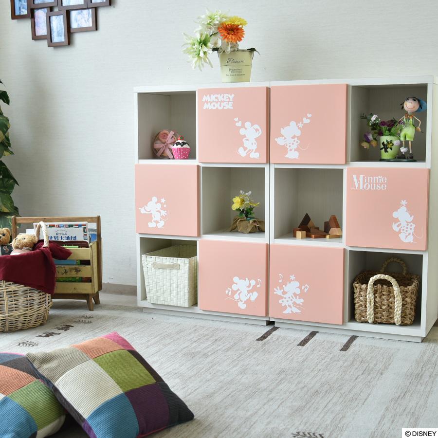 ディズニーキャビネット 完成品 日本製 ディズニー ミッキー ミニー キャビネット 幅70 3段 オープンラック ミッキーマウス ミニーマウス かわいい
