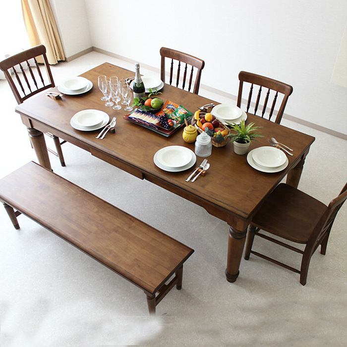 200 Cm Wide Dining Table Set 6 For People Hung Points Solid Drawer