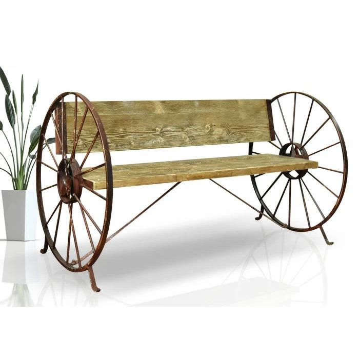 【クーポンSALE開催中】 ベンチ 幅136cm カントリー ログハウス チェアー 車輪 ナチュラル 長椅子 椅子 ガーデン アウトドア 大川 通販 家具