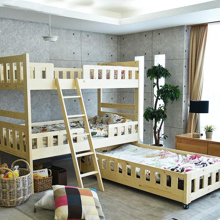 【クーポンSALE開催中】3段ベッド 親子ベッド 木製 無垢 子供から大人まで 2段ベッド スライドベッド 3人用 セパレート カントリー パイン無垢 ツインベッド 分割可能 LVLスノコ