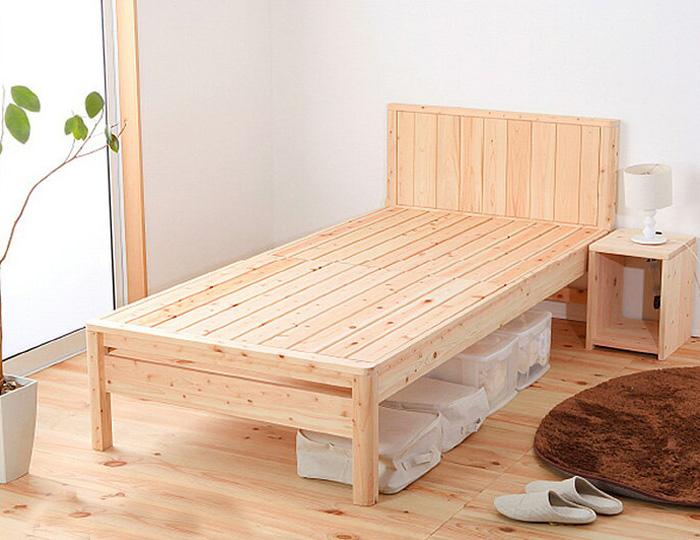 ベッド ベッドフレーム セミダブルベッド セミダブルサイズ 国産 F☆☆☆☆ 国産ひのき使用 木製 スノコベッド 脚付き 高さ変更出来るベッド 寝室 シンプル ひのき 代引き不可