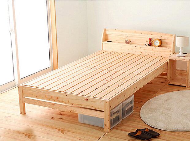 【送料無料】ベッド ベッドフレーム シングルベッド シングルサイズ 国産 F☆☆☆☆ 国産ひのき使用 木製 スノコベッド 脚付き 高さ変更出来るベッド 寝室 シンプル ひのき 宮付き 収納付 代引き不可