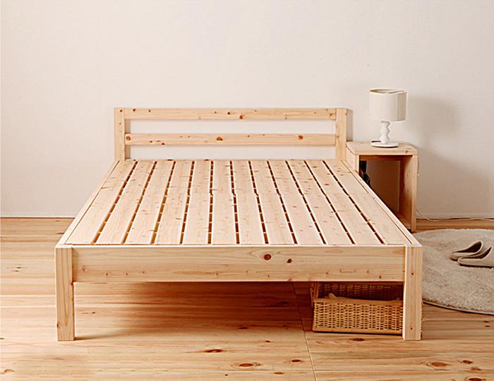 ベッド ベッドフレーム セミダブルベッド ダブルサイズ 国産 F☆☆☆☆ 国産ひのき使用 木製 スノコベッド 脚付き 高さ変更出来るベッド 寝室 シンプル ひのき 代引き不可